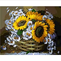 Frameless Paintings by Numbers Flowers Paint by Number for Home Decor Pbn for Living Room 40 * 50Cm Sunflower and Daisy