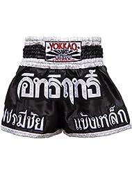 """'yokkao Muay Thai Pantalones Cortos """"Blade Runner Negro, hecha de satén, color negro, tamaño XL (32"""")"""