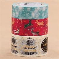 Set nastri adesivi Washi natalizi 3 pz neve renne messaggi