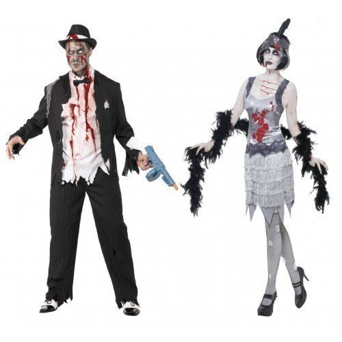 Paar Herren & Damen Kostüm Zombie Gangster UND Flapper Moll Mobster 1920er 20er Jazz Halloween Kostüme Party Outfits - Schwarz, Ladies UK 16-18 & Mens (Kostüm 1920er Lady)