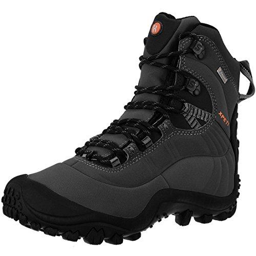 XPETI Scarponi Trekking Estivi, Uomo Impermeabili Montagna Alpinismo Trail Calzature Mid Escursionismo Scarpe da Trekking Sportive Estive Neve Pedule Grigio 47