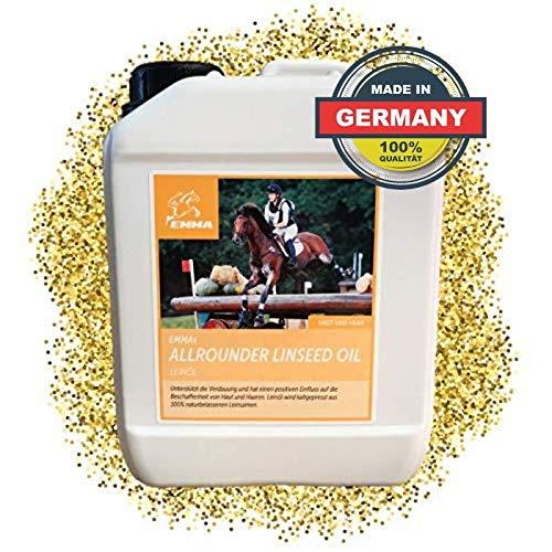 EMMA Leinöl Pferde I Kanister I Leinoel Hunde I Leinsamenöl glänzendes Fell & Gute Verdauung & Fellwechsel I Omega 3 6 9 Öl kaltgepresst für Tiere 2,5 L