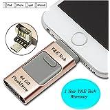 64 GB IFlash Device Memory, Data Storage - Dual USB-Flash Drive For Apple Iphone 7, 7plus, 6s, 6s Plus, 6, 6 Plus , Ipad Air 2 , IOS-PC-Android (RoseGold)