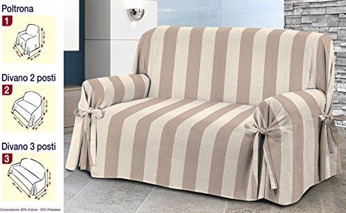Copridivano 3 posti tessuto jacquard misto cotone beige a righe rigato strisce copri divano laccetti tre posti versatile beige