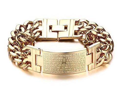 Vnox Schmuck Heavy Herren Bibel Kreuz Edelstahl ID Armband für Männer,vergoldet (14k Armband-charme-armband)