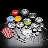 Cooking Toy Set, Fansport Cookware Toy Set Stainless Steel Pots Pans Kitchen Pretend Play Toy For Kids