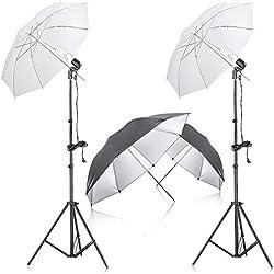 Neewer 750W 5500K Photo Studio Kit Eclairage Continu Parapluie avec 2 Pieces 84cm Noir / Argent Parapluie pour Portrait Photographie, Studio et Tournage Vidéo