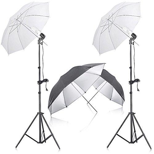 """Neewer® 400W 5500K Fotostudio kontinuierliche Beleuchtung Schirm Set mit 2 Stück 33 """"Schwarz / Silber-Schirm für Porträtfotografie , Studio sowie der Videoaufnahme"""