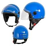 Motorradhelm Motorrad Roller Jet Helm Demi Mit Viser Blau XL