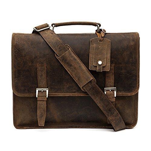 porterbello - 'Sicile' Grand fait main Premium Hunter cuir sacoche cartable Messager Sac ordinateur portable