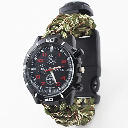 Hunpta Outdoor Survival Uhr Armband Paracord Kompass Feuerstein Feuer Starter Pfeife (Camouflage)