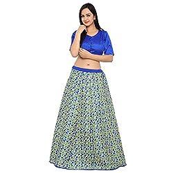 Triveni Art Silk Blue colour Printed Festival Lengha Choli-XTSKT13313(Unstitsched)