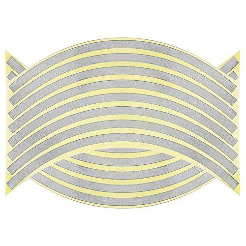 SKS Distribution® 16 tiras adhesivas plateadas para llantas, reflectantes, 35,6 cm, pulgadas,...