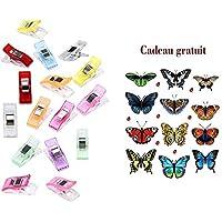 Lot de 50PCS Clips Pinces Clair en Plastique pour Reliure Couture Artisanat, 2.7 x 1 x 1.5CM (Multicolore)