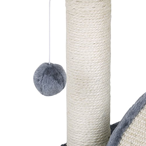Milo & Misty Cat Bed and Scratching Post Activity Tree with Toys – Grey