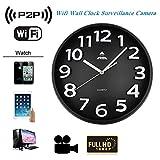 Ohpa Espion Horloge Murale cachée, Surveillance de la sécurité intérieure, détection de Mouvement du Moniteur de caméra DVR, WiFi 1080P P2P HD