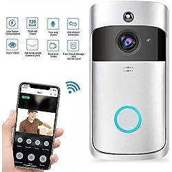 Teepao WiFi Sonnette Vidéo, Etanche Electrique Sonnette sans Fil Exterieur, 720p HD Security Smart Sonnette Caméra Vidéo en temps réel Audio bidirectionnel PIR Motion Detection pour IOS Android
