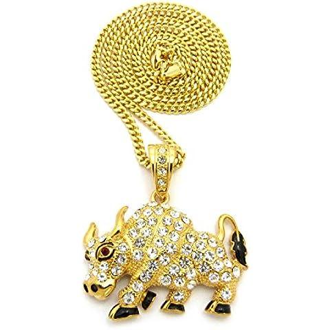 Hip-hop piedra Stud Bull colgante con 4mm 76cm tono dorado cubano cadena collar