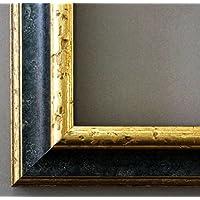 Bilderrahmen Genua Schwarz Gold 4,3 - WRF - 90 x 120 cm - 500 Varianten - alle Größen - handgefertigt - Galerie-Qualität Antik, Barock, Landhaus, Shabby, Modern - Fotorahmen Urkundenrahmen Posterrahmen