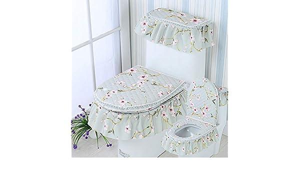 BAOZIV587 Sedile WC universale Cuscino sedile universale Sedile WC sottile set di tre serie di bagno domestico Versione coreana del tipo cerniera Anello antibatterico europeo bifacciale prugna verde