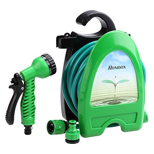 Homdox Schlauchhalter Halterung Schlauchtrommel Wasserschlauchaufroller Gartenschlauch-Set inkl. 10m Schlauch und Sprühpistole tragbar