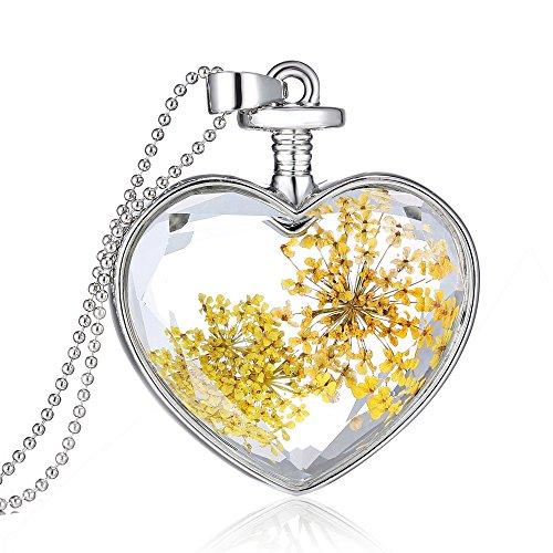 Feilok Damen Trocken Blumen Wünsche Flasche Anhänger Halskette Legierung Länge Kette für Frau (Blumen-O)