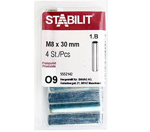 4 Stk. STABILIT Verbindungsmuttern M8x30mm verzinkt , Langmuttern Sechskant - 5552142