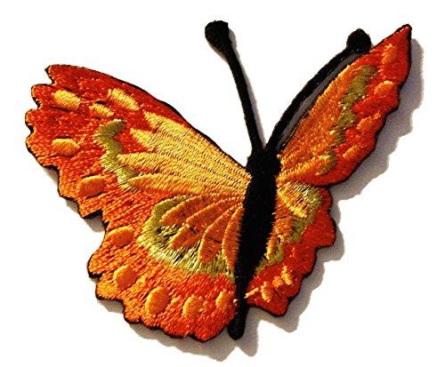 Toppe termoadesive - farfalla - arancione - 7.9x6.3cm - Patch Toppa ricamate Applicazioni Ricamata da cucire adesive