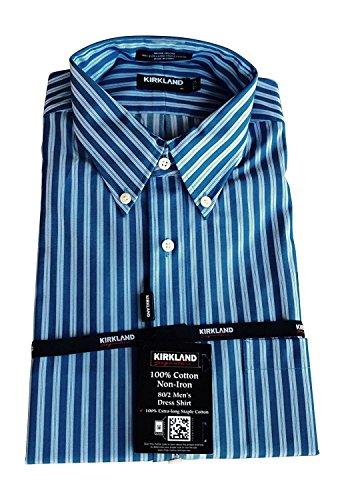 Kirkland Signature Men's Long Sleeve Non-iron Button Down Dress Shirt 15.5 x 33 (Long Shirt Striped Twill Sleeve)