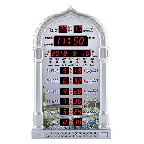 TOPINCN Automatik Gebetsuhr Islamische Gebetsalarm Digital Hintergrundbeleuchtung LCD Wanduhr Home Room Decor EU-Stecker Silber