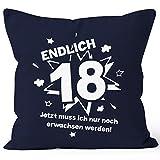 MoonWorks Kissenbezug Endlich 18 Jetzt Muß Ich Nur Noch Erwachsen Werden Zum 18. Geburtstag Geschenk Kissen-Hülle Deko-Kissen 40x40 Baumwolle Navy Pullover