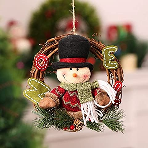 Weihnachten Rattan Kranz mit Santa Claus, Schneemann, Elch Dekoration Weihnachtsbaum Girlande Party Home Wand Tür hängen Dekor Anhänger (Schneemann)