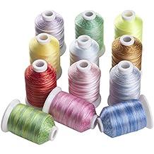Simthreads 12 Multicolor de Poliéster Bordado de Hilo de las Bobinas, 1000 meters / bobina