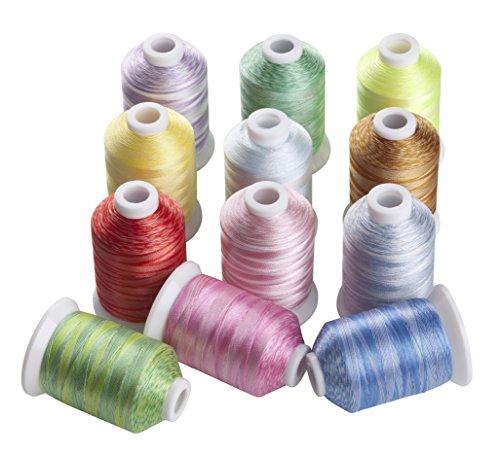 Simthread Multi Farben Polyester Maschinen Stickgarn - 1,000 Meters, für Brother, Babylock, Bernette, Janome, Kenmore, Singer, W6 N 5000 Stickmaschine und Nähmaschine (12 Farben-VA)