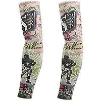 Koala Superstore 1-par de béisbol Falso Tatuaje Sol Mangas Body Art Brazo Cubiertas para Pesca al Aire Libre Ciclismo