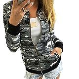 FIRSS Damen Tarnung Wintermantel | Reißverschluss Sweatjacke | Taschen Coat | Normallack Mantel | Kurz Baseball Mantel | Mode Elegante Langarmshirt Outwear