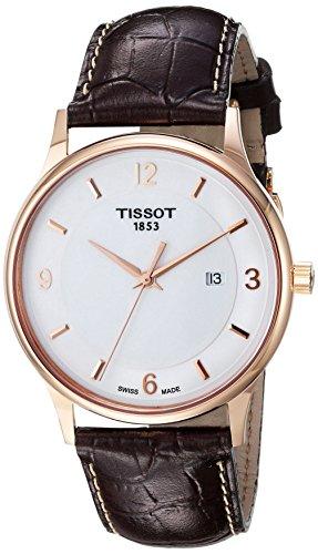 Tissot T de los Hombres del Oro de Cuarzo Suizo y Reloj automático de Piel, Color: marrón (Modelo: t9144104601700)