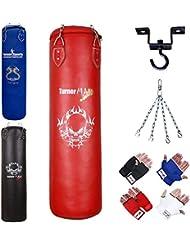 TurnerMAX Punch Bag Set Filled Boxing Bag Gloves Ceiling Hook Swivel Chain MMA Punchbag Black