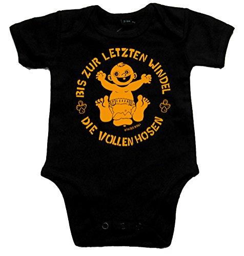 DIE VOLLEN HOSEN Bis zur letzten Windel Black Baby-Body schwarz/orange, Größe 74 Black Baby-body