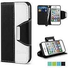 Funda iPhone 4, Vakoo iPhone 4 Carcasa Case Cuero Premium PU Estilo Libro Teléfono Móvil Protectora Cover para Apple iPhone 4/4S, Negro Blanco