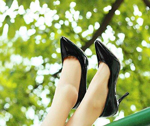 OL Pumpen Büros Stiletto Mid Heel Runde-toe Frauen Casual Hochzeit Elegant Schuhe Europa Größe innerhalb Customized Biger Größe 30-47 Black
