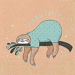AvanCarte GmbH Servietten Tischdeko Humor Pyjama Party Faultier 20 St 3-lagig 33x33cm