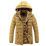 Yuncai Uomo Colore Solido Giacconi del Manica Lunga Autunno Caldo Slim Cappotto con Cappuccio Removibile Abbronzatura 3XL