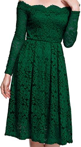 Meyison Damen Vintage 1950er Off Schulter Spitzenkleid Knielang Festlich Cocktailkleid Abendkleid Rockabilly Kleid (Kleid Stil 1970)