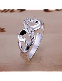 Elegante anillo chapado en plata de ley 925 con circón, de JoyliveCY, moda femenina, tamaño Q