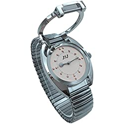 Stainless Steel Tactile Watch for Blind People--Battery Operated(Expansion Band, pink dial)