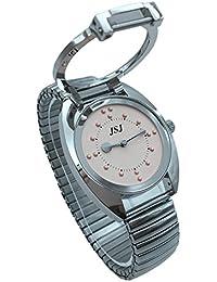 Reloj De Pulsera Braille para Invidentes o Personas Mayores Rosa Dial, Correa Elastica Acero