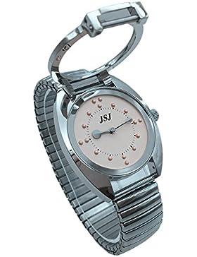 Blindenuhr taktile Armbanduhr für Sehbehinderte,Blinde oder ältere menschen Rosa Zifferblatt mit Metall-Zugarmband