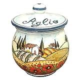 CERAMICHE D'ARTE PARRINI - Italienne artistique poterie, pot d'ail décoration paysage de coquelicots, peint à la main, fabriqué en Italie Toscana