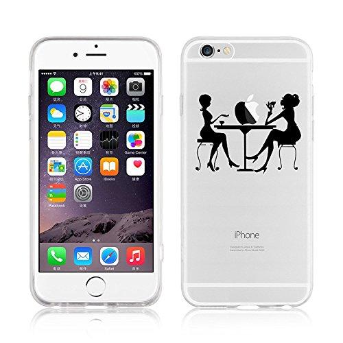 Blitz® SKETCH HANDY Schutz Hülle Transparent TPU Cartoon Comic Case iPhone Hotline Bling iPhone 6 6s Cafe am Tisch